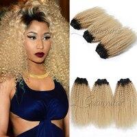 Guanyuhair 1B/613 Peruvian Kinky Curly Hair Weave Blonde Human Hair Bundles With a Free Closure Dark Roots