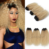 Guanyuhair 1B/613 Peruvian Kinky Curly Hair Weave Blonde Human Hair Bundles With a Free Closure Dark Roots