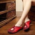 2017 de cuero de vaca verano hollow media-arrastre sandalias femeninas de cuero genuino hecha a mano retro mujeres zapatillas tamaño 35-40