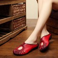 2017 summer cow leather  hollow half-drag female sandals handmade genuine leather retro women slippers size 35-40