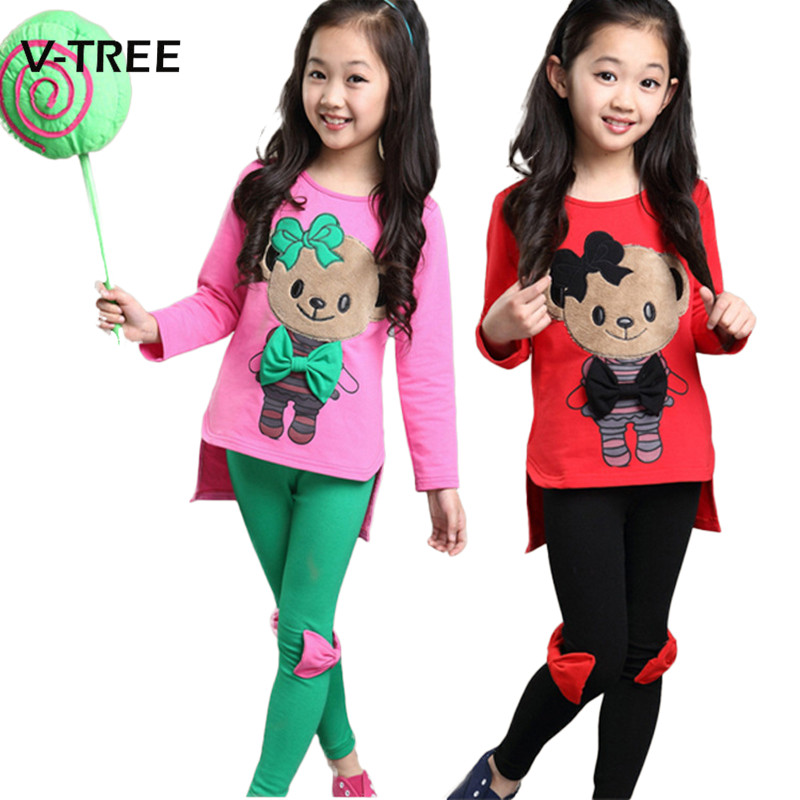 V-TREE Baby Girls Clothing Sets Candy Color Teenage Suit Sets For Girls Tracksuit Spring Autumn Kids Children Clothes 3-10 Year