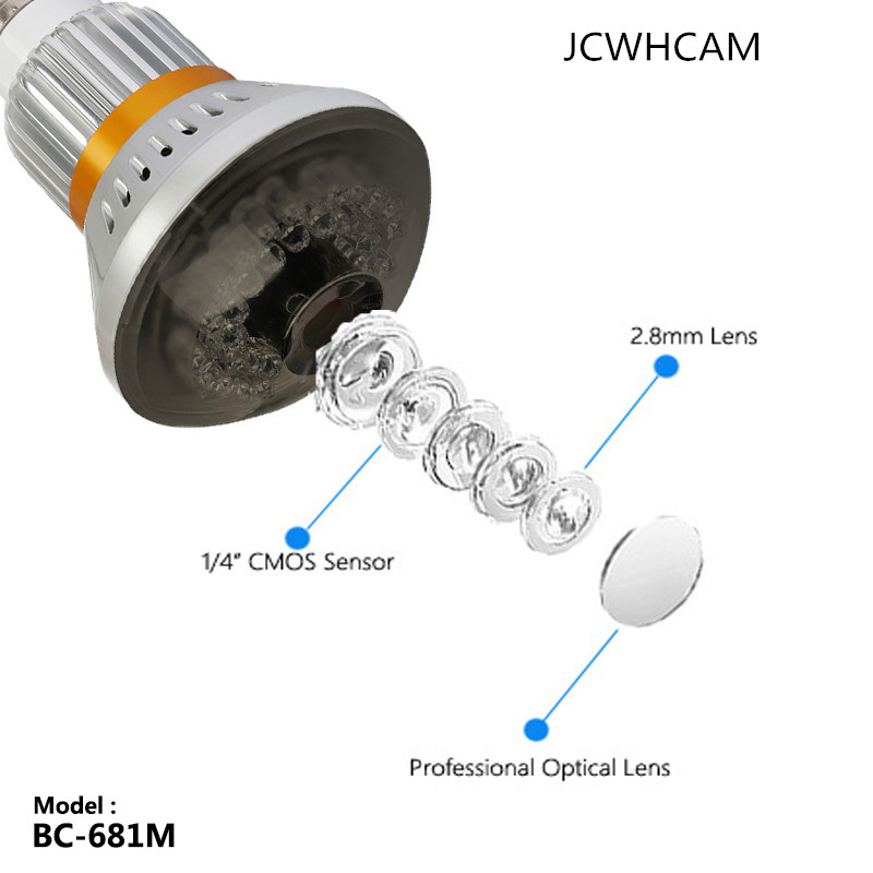 JCWHCAM BC-681M IP CCTV Security DVR Camera Motion Dection Night Vision Support 640*480 SD Max 64G Last recording No Wifi eazzy bc 688 bulb cctv security dvr camera auto control light and recording motion dection night vision circular storage