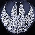 FARLENA de coral em forma de jóias 2017 Novo Cheio de Strass Cristal colar e brincos set beads Africanos conjuntos de Jóias