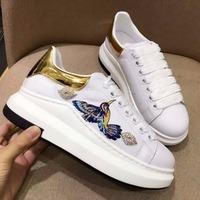 Woman Flats Crystal Embellished Woman Sneakers Embroidered Animal Woman Casual Shoes Low Top Lace Up Platform Chaussures Femmes