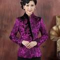 2017 Новое Прибытие Фиолетовый Атласная женская Куртка Цветочный One Button Длинные рукав Тан Костюм V-образным Вырезом Тонкий Элегантный Пальто S Для XXXL NJ147