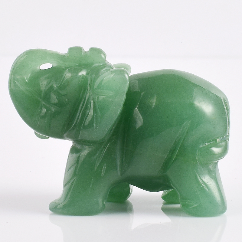 2 Inch Elephant Figurines Craft Carved Natural Stone Green Aventurine - Home Decor - Photo 2