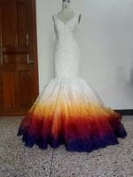 ILoveWedding New Colorful Lace Mermaid Wedding Dresses Sleeveless Gorgeous Beaded Bridal Gowns Applique Woman Custom Made