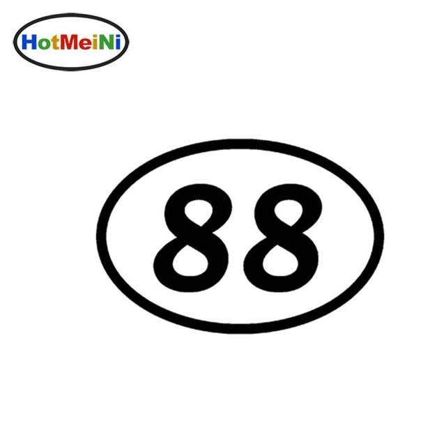 88 eighty eight number oval jdm reflective vinyl sticker car truck bumper window decal motocross