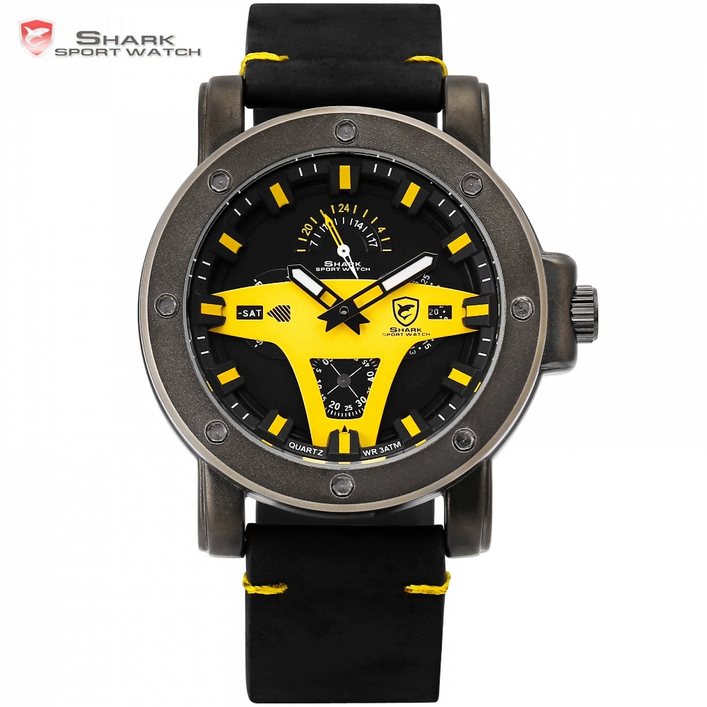 Greenland Shark 2 Series Sport Watch Yellow Date Crazy Horse Leather Band Strap Quartz Men Clock montre homme Wrist Watch /SH455 greenland shark sport watch brand