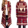 Long Cardigan Sweater Women Winter Kintted Sweaters Coat Printed Geometric Silm Hooded Poncho Sweater Pull Femme Wool Knitwear