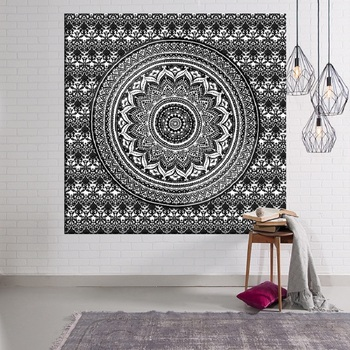 Nueva Mandala Tapices Indio Brujulas 3d Elefante Blanco Y Negro - Tapices-pared