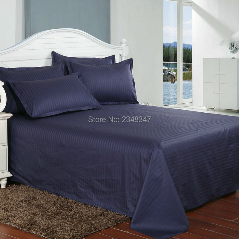 quality dark blue cotton cotton hotel home satin stripes twin full queen king size. Black Bedroom Furniture Sets. Home Design Ideas