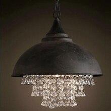 Nordic Loft  Led Iron Pendant Laights Modern Crystal Lamp Bedroom Hotel Restaurant Bar Decoration Hanging Luminarie