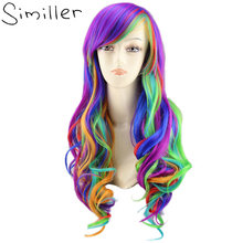 Similler Arco Iris mujeres rizado largo sintético Cosplay del pelo peluca + un Haircap Multi Color(China)