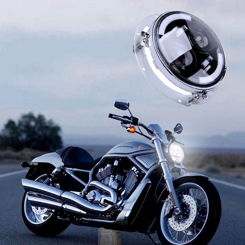 Round 7 Motorcycle Led Headlight with Mounting Bracket for Harley Davidson Electra Glide Softail Street Glide Road King 7 inch led headlight motorbike suit 7headlight monting ring fog lights for harley davidson electra glide road king street glide