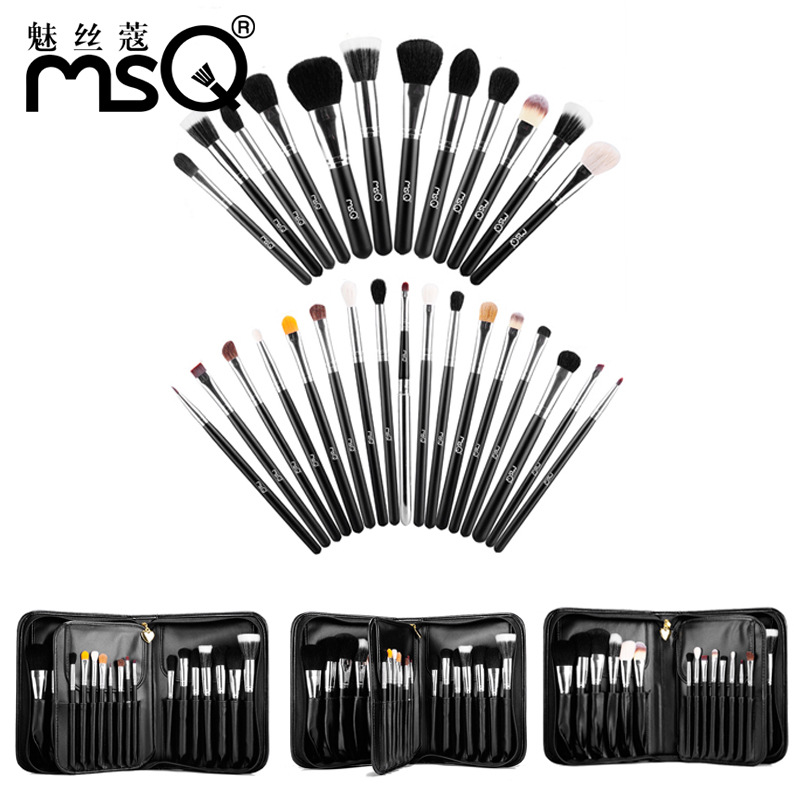 цены MSQ Professional Makeup Brushes Set 29pcs Animal Hair Foundation Powder Eyeshadow Make Up Brush Kit With PU Leather Case