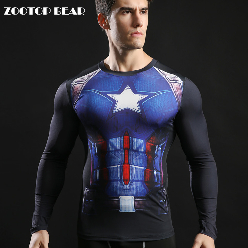 American Captain Printed Tops 3D Tshirt Long Sleeve Men T-shirts Round Neck Compression High Quality T shirts 2017 ZOOTOP BEAR