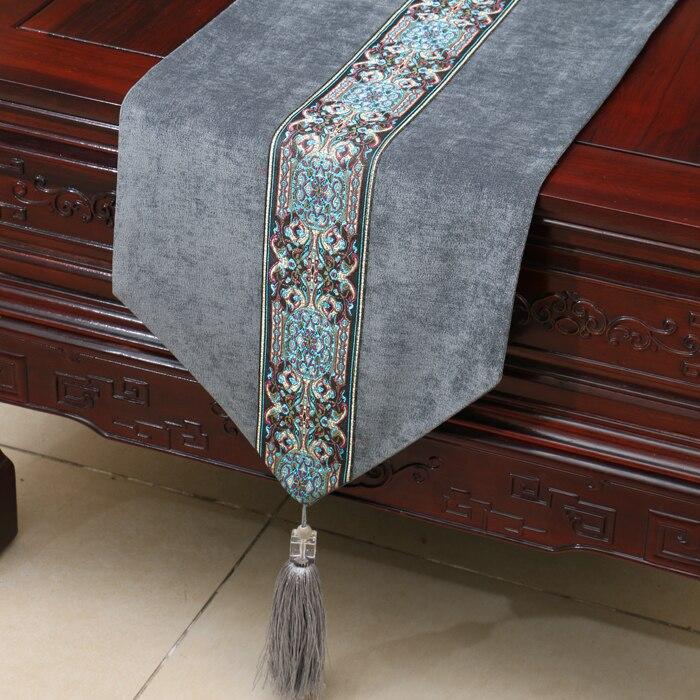 Longue Patchwork dentelle velours nappe coureur noël fête de mariage Table décoration Vintage nappes à manger Table tampons