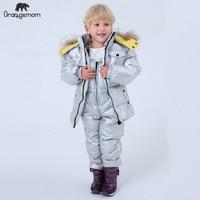 2019 Brand orangemom fashion children's jackets + pant overalls winter coats for boys clothing parka children snow wear suit