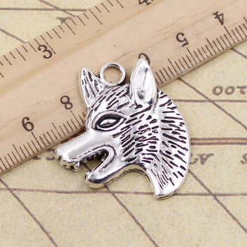 10pcs Charms Wolf Dog Wolfhound 35x30mm Tibetan Silver Color Pendants Antique Jewelry Making DIY Handmade Craft Pendant image