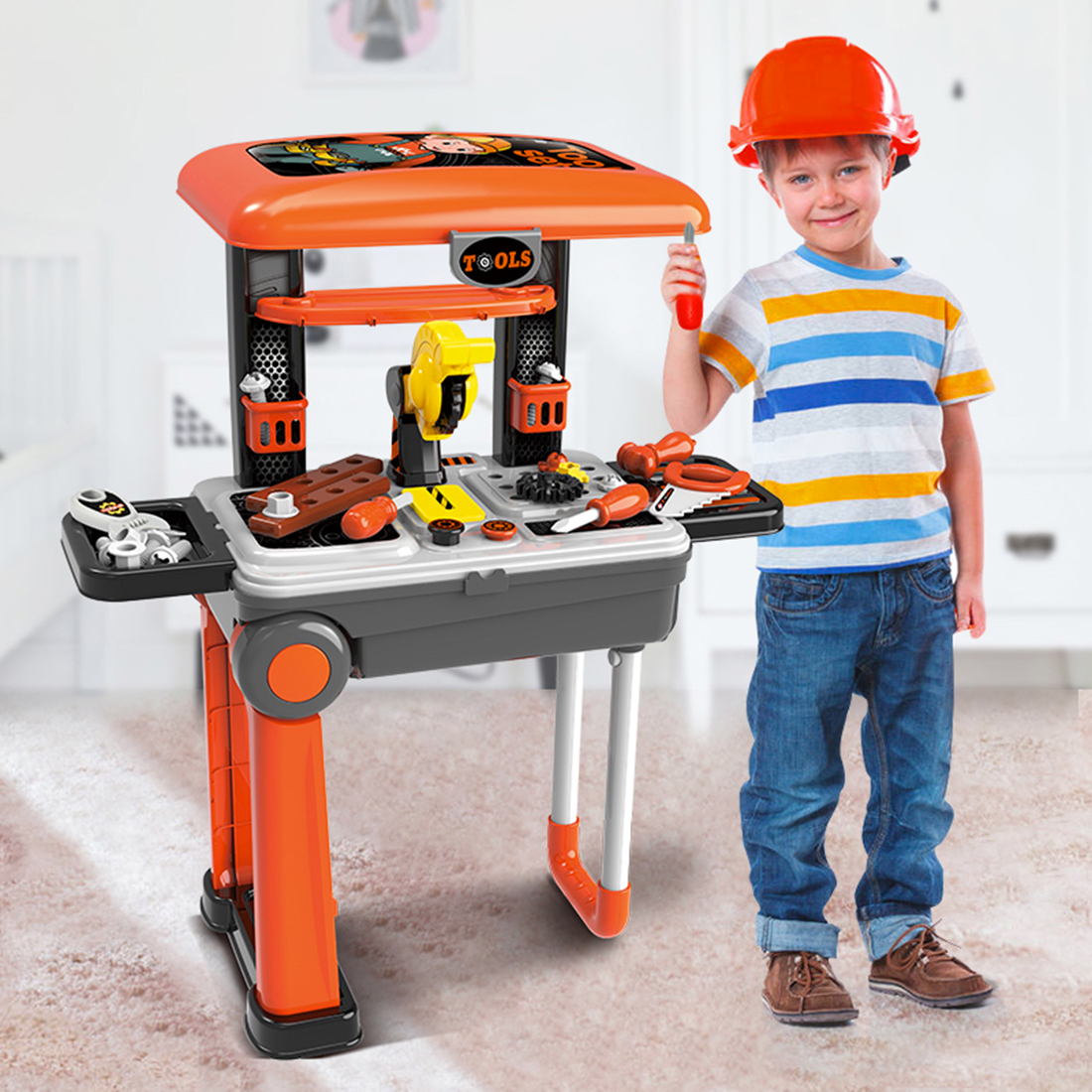 Surwish Children Repair Tool Toys Set ABS Workshop Playset Kids Parents Interactive Educational Gift Toy-Orange