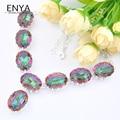 Enya novo presente de natal moda feminina banhado a prata colar rainbow fire místico topázio sintético colares agradável jóias bijoux 0562