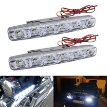 цена на DRL LED Daytime Running Lights 12V 5050 6 SMD Waterproof Universal Auto Fog Light Car Motorcycle Driving Lamp Car Light Assembly