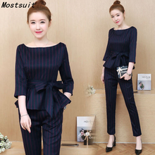Mostsuit Blue Striped Office Two Piece Set Long Sleeve Tops With Belt pants Trousers