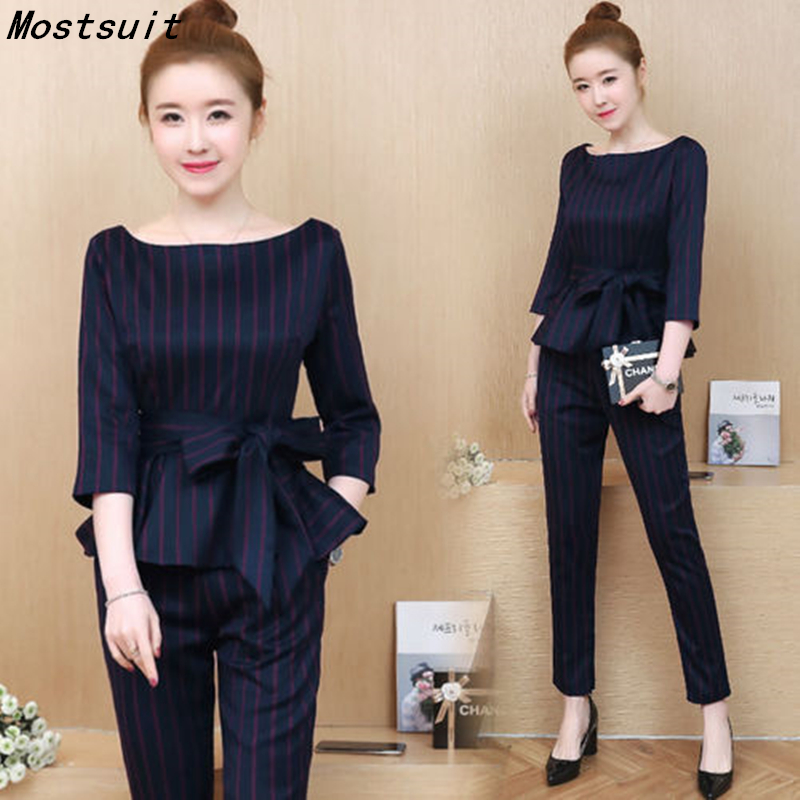 Blue Striped Office Two Piece Set Women Long Sleeve Tops With Belt+pants Trousers Ladies Korean Sets Suits Women's Clothing 2019