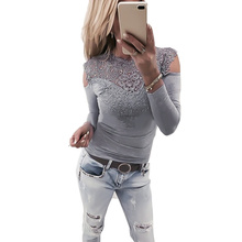 Fashion T Shirt Women Sexy Lace Stitching Off-shoulder T-shirt Clothes Long Sleeve Streetwear O-neck
