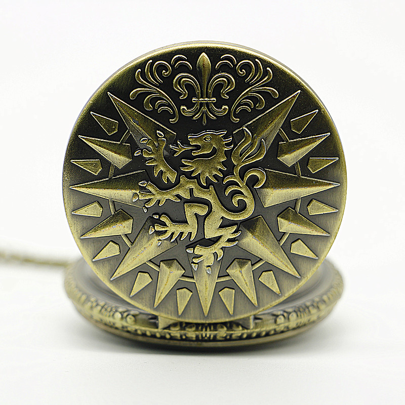 Game-of-Thrones-Hear-Me-Roar-LANNISTER-Theme-3D-Bronze-Quartz-Pocket-Watch-With-FOB-Chain