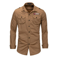 Brand Casual Men's Cargo Shirt 2018 New Spring Autumn 100% Cotton Solid Color Long Sleeve Embroidery Military Shirt
