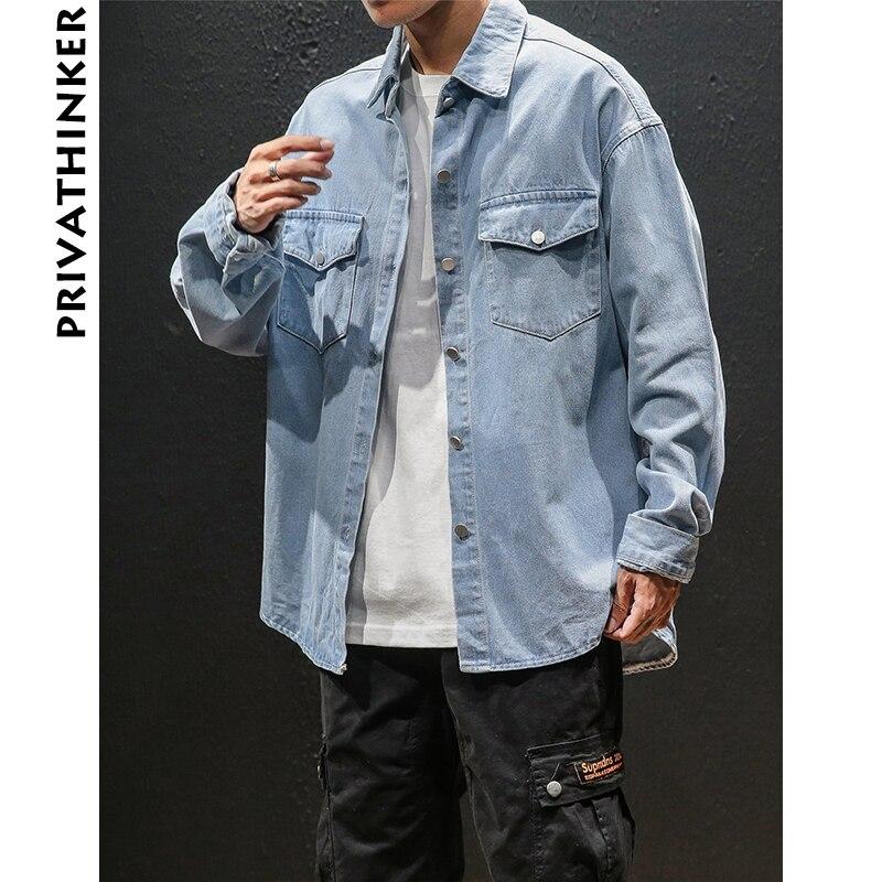 Privathinker Men Jean Shirts Casual 2018 Mens Long Sleeve Designer Denim Shirts Male Streetwear Black Fall Retro Fashion Shirt