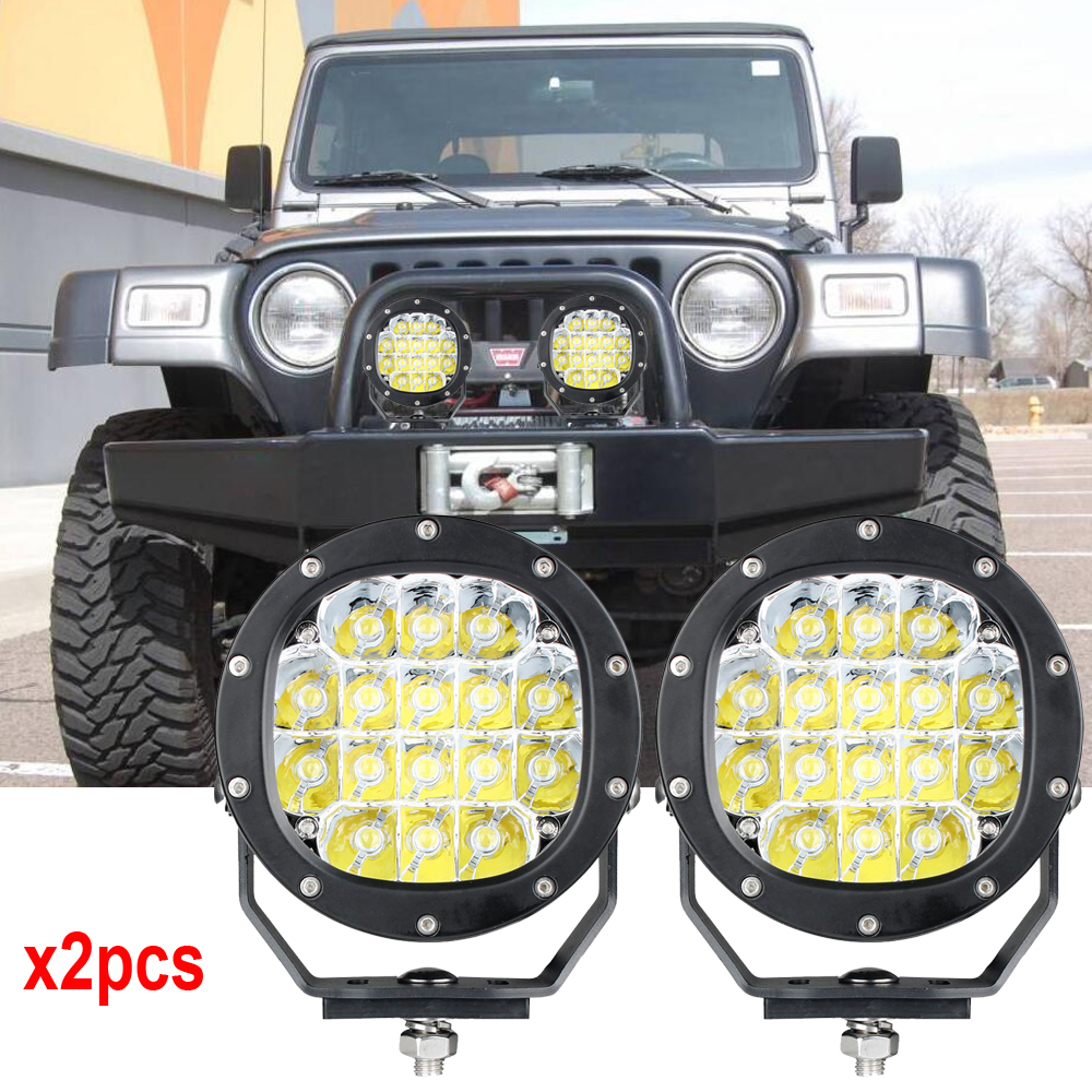 GDCREESTAR 5inch 80W Round Flood Spot Led Work Light Bar Offroad SUV ATV x 2PCS 80W offroad led spotlights 4x4 Free Shipping