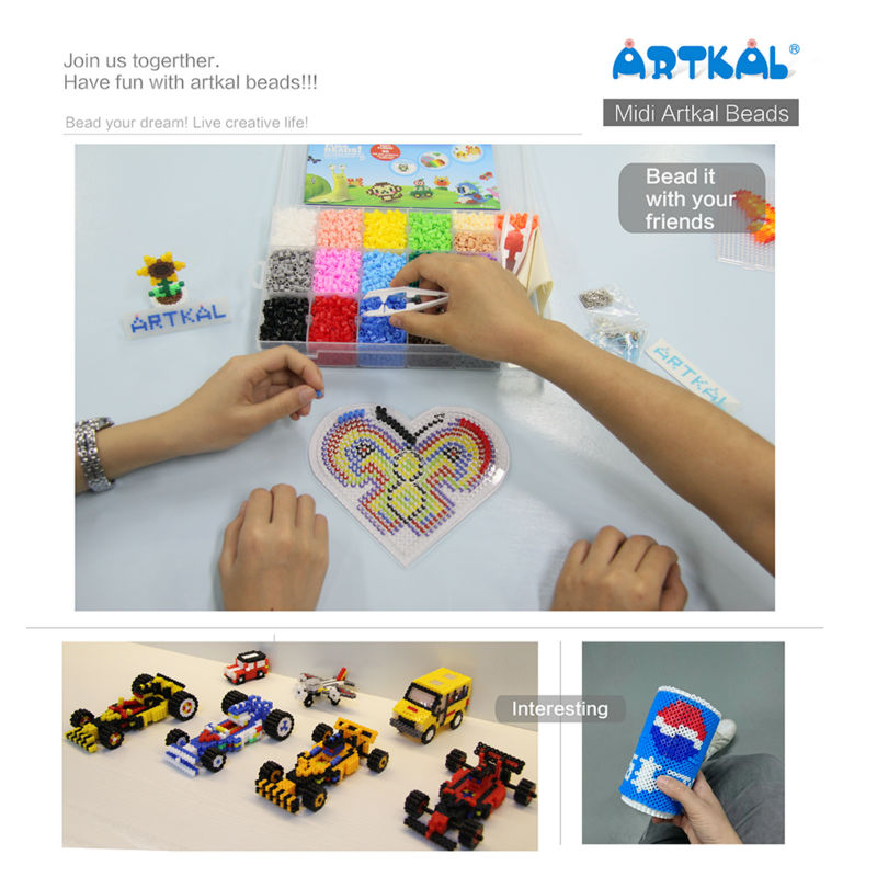 Artkal Fusible Perles 19 Couleurs Box Set avec Panneaux Perforés Hama Perles DIY Kits CR19