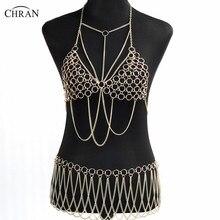 Chran Gold Color Sexy Women Harness Full Beach Chain Belly Waist Fashion Costume Chain Bra Dress Bikini Wear Set Jewelry CRB4124