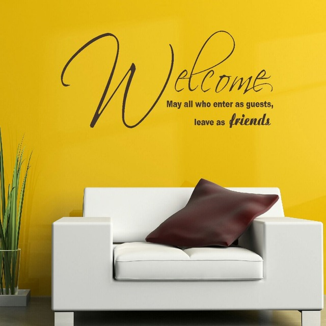 LARGE QUOTE WELCOME FRIENDS BEDROOM WALL ART STICKER GRAPHIC DECAL ...