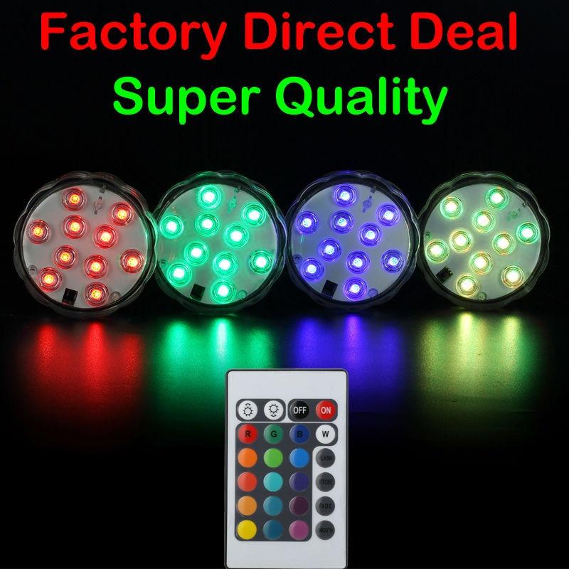 (12pieces / lot) 2.8in 10 LEDs Golau danddwr LED LED gyda Rheolaeth Anghysbell ar gyfer Addurn Priodas