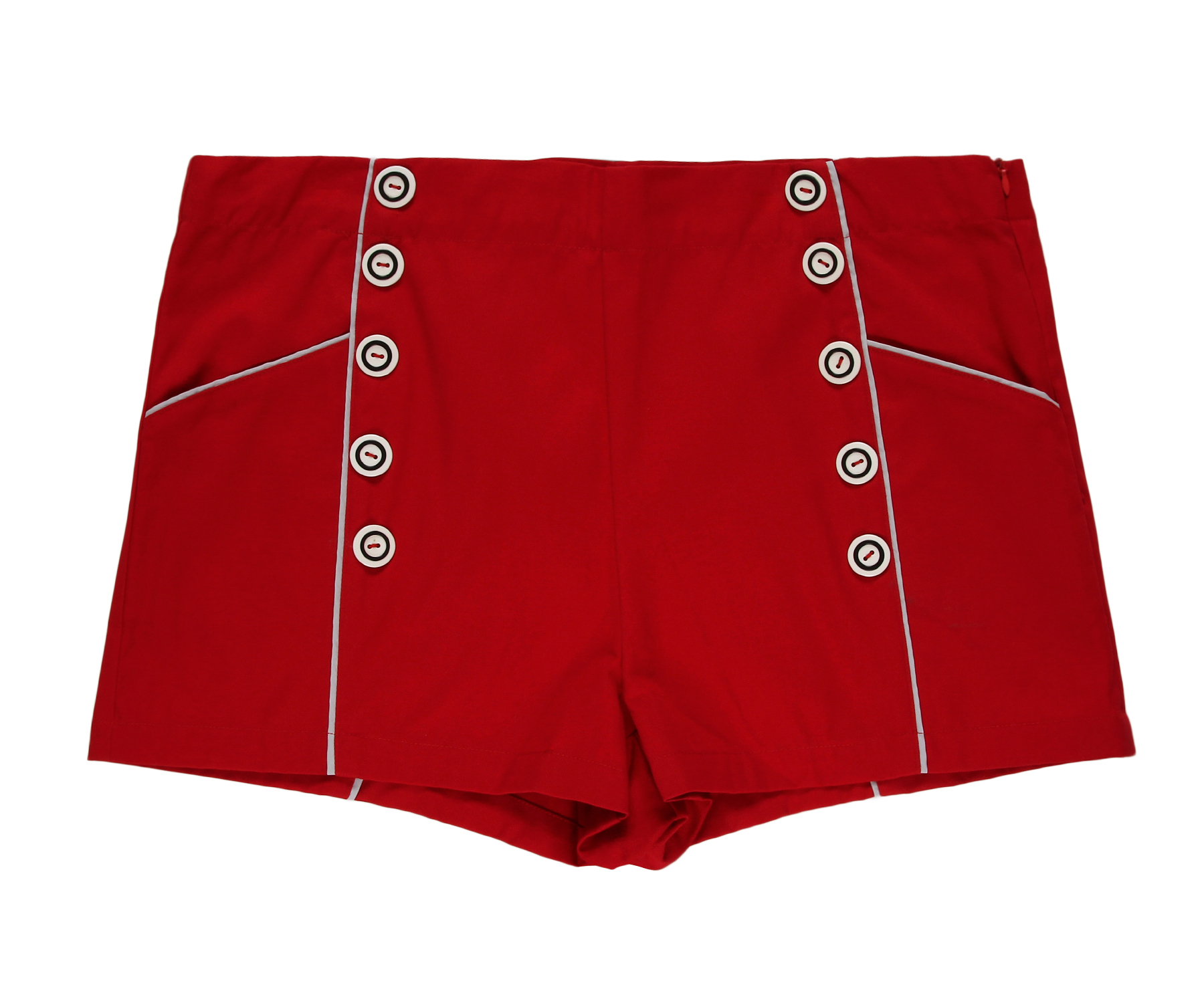 New Style Ladies High Waist Shorts Red Retro White Piping Punk Wind Button Pockets Casual Slim Women Shorts
