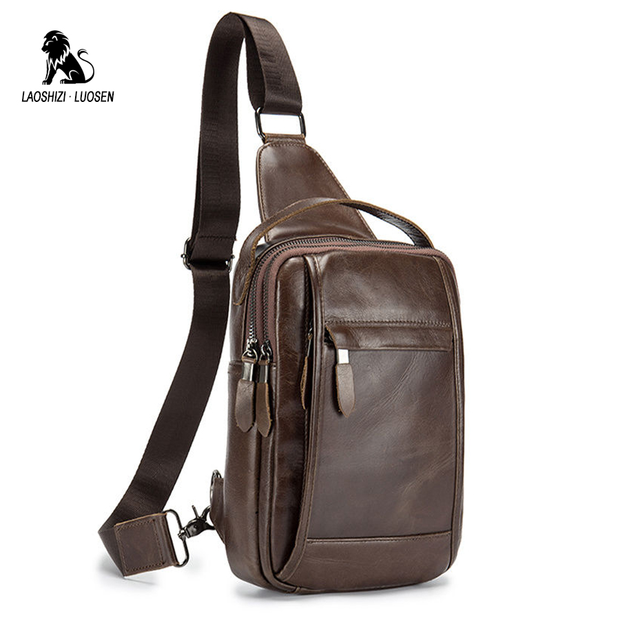 LAOSHIZI LUOSEN Vintage Chest Bag Pack Men Shoulder Bag Male Small Oil Wax Genuine Leather Messenger Crossbody Retro Sling bag men canvas small sling chest pack handbag vintage shoulder crossbody bag function small men messenger bags grey 19 8 25 cm