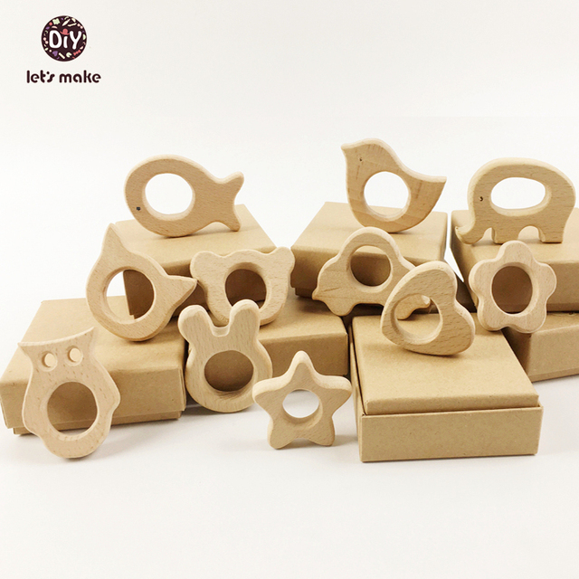 Let's Make Wooden Teethers 11pc Nature Baby Teething Toy Organic Eco-friendly  Wood Teething Holder