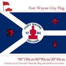 лучшая цена Free shipping 60*90cm 90*150cm Flag Custom 100d Polyester 3x5ft Indiana State Fort Wayne City Flag 30*45cm Car Flag