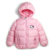 CNJiaYun Winter Girls Jacket Hello Kitty Cartoon Hooded Children Coats Girls Vest Cotton Windbreaker Clothes Kids Clothing