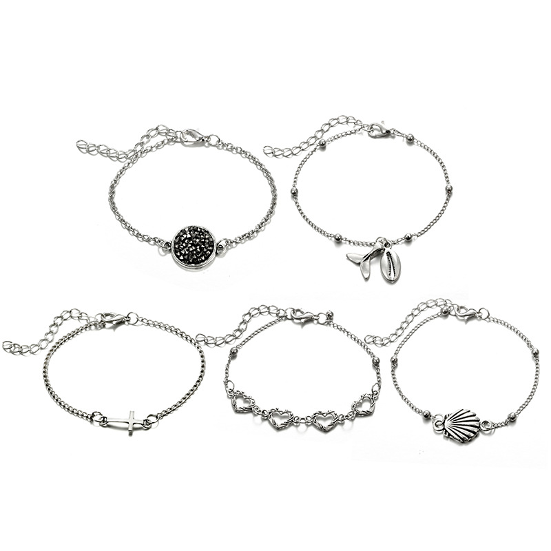 5pcs set Fashion Charm Bohemia Heart Sea Shell Bracelet For Women Bracelets Accessories Jewelry Gifts Whoesale in Charm Bracelets from Jewelry Accessories