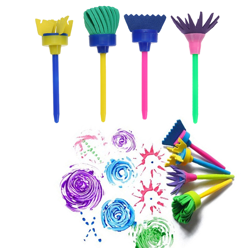 Vodool 4pcs/Set Flower Paint Brush Rotate Spin Sponge Kids Children Graffiti Art Drawing Painting Toy School Stationery Supplies