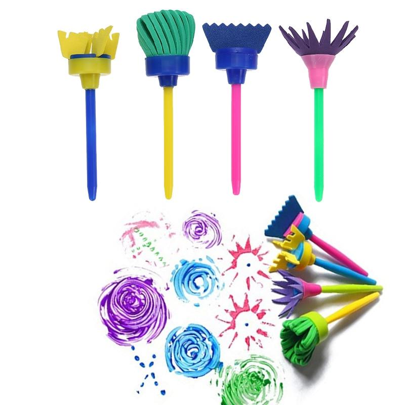 VODOOL 4Pcs/set Flower Paint Brush Rotate Spin Sponge Kids Children Graffiti Art Drawing Painting Toy School Stationery Supplies