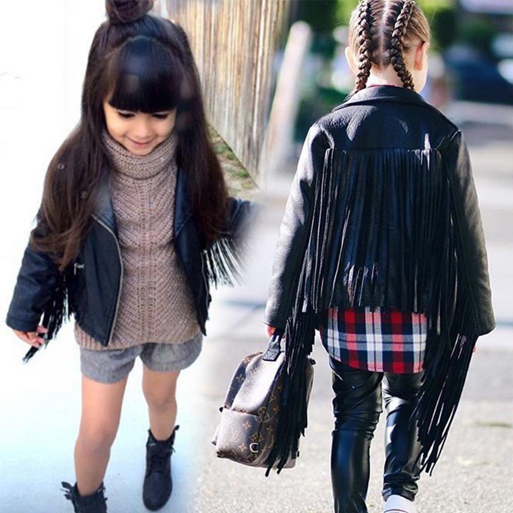 Chifuna Nova Moda Meninas Jaqueta de Couro PU Borla Legal Jaqueta Menina  Casaco Crianças Outwear Para d9fb467112f