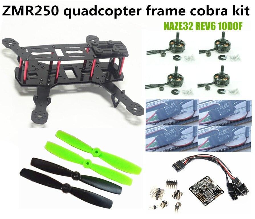 DIY ZMR250 / QAV250 frame kit pure carbon fiber frame + cobra 2204 2300KV motor + cobra 12A ESC + CC3D / NAZE32 10DOF diy mini drone robocat 270 v3 quadcopter pure carbon frame kit cobra 2204 2300kv motor cobra 12a esc cc3d naze32 10dof
