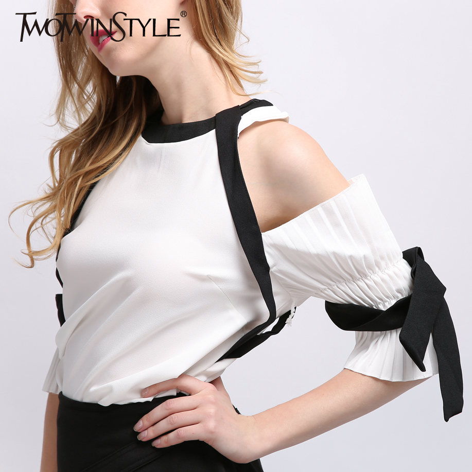 TWOTWINSTYLE 2017 Summer Women Sexy Off Shoulder Chiffon Tops Blouse Shirt Pleated Flare Sleeve Female Clothes Korean Fashion