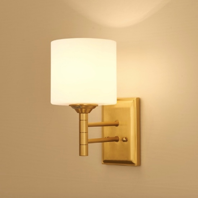 Post modern Simple Rural Copper Glass Led E27 Wall Lamp for Bathroom ...